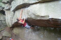 Rock Climbing Photo: Mario going for the solid jug on the crux of Drago...
