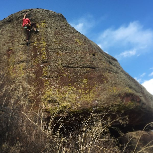 Rock Climbing Photo: A top rope rehearsal. There was a lot of lichen on...
