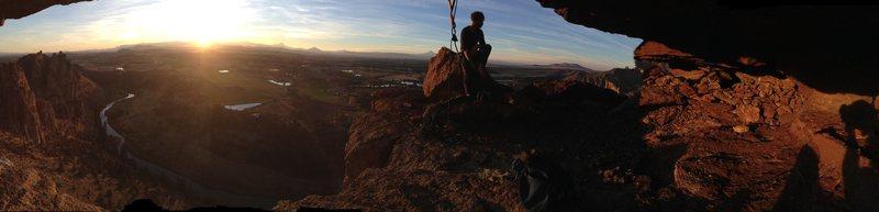 Rock Climbing Photo: Sunset cave belay panorama