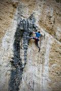 Rock Climbing Photo: Stemming between tufas.
