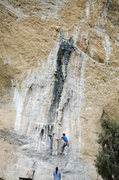 Rock Climbing Photo: Lowering off, the rope shows the general line of w...