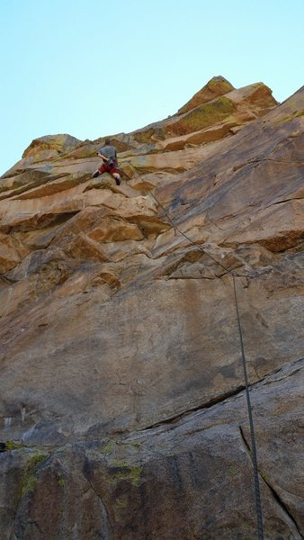 Chris Miller-McLemore staring down the crux of Thunderbird.