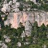 Climber in red towards the top of Papagora.