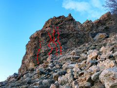 Rock Climbing Photo: Routes on the Brain. A. Un-named (10d), B. Frontal...