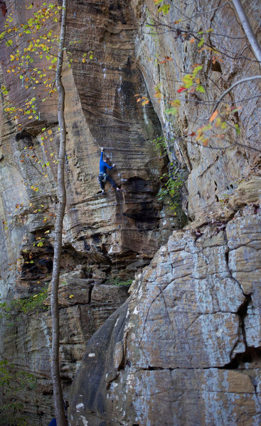 Rock Climbing Photo: Merrick Schaefer gains the face while experiencing...
