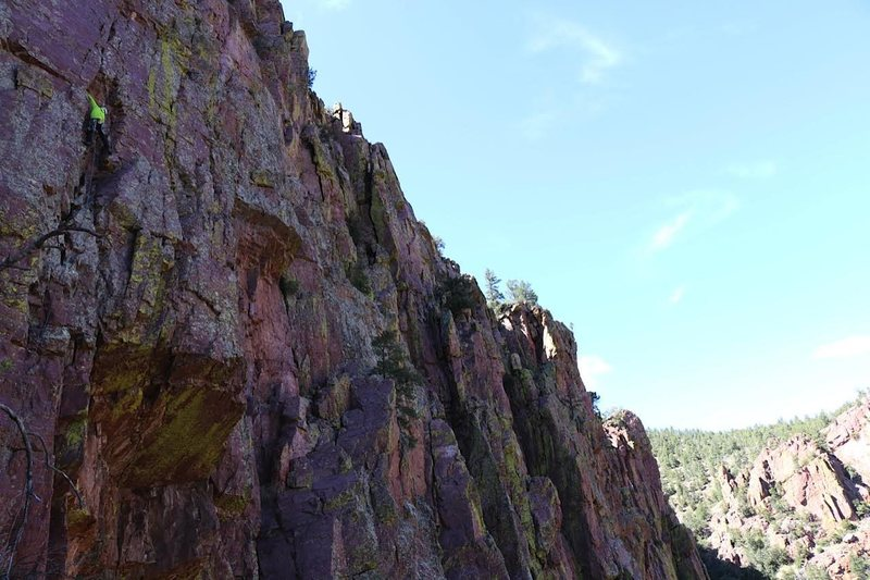 Tim H. on the onsight of Exacerbator, Isolation Canyon, AZ.<br> <br> Photo by: Kyle C.
