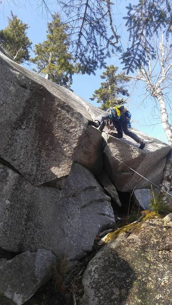 Rock Climbing Photo: Javi making the final hump yesterday into the crac...