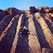 Rock Climbing Photo: Stemming up The Black Cliffs outside of Boise, Ida...