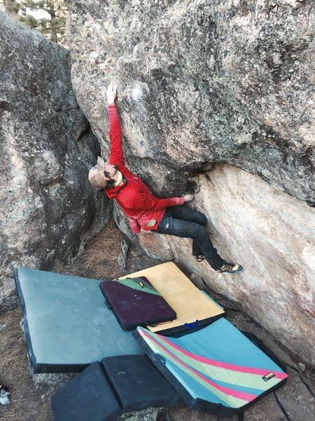Rock Climbing Photo: Mark E on Kansas City Shuffle classic smear fest