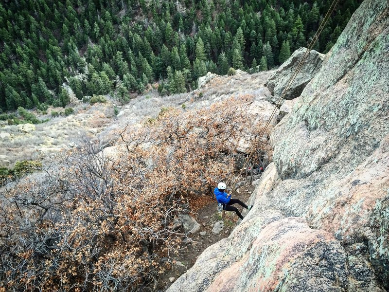 Rappelling off my first multipitch climb. Oak Creek Canyon 03/13/16