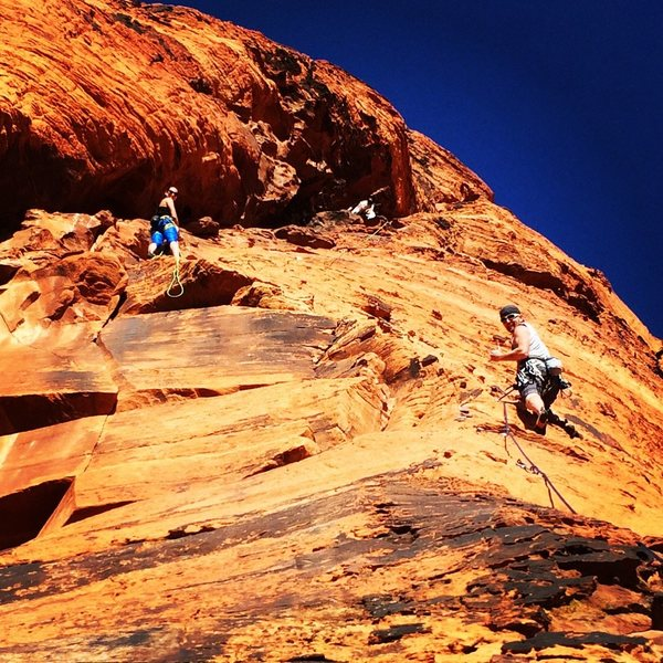 """New multiple pitch route """"Hero"""" on the upper tier.  5.9"""