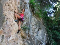 """Rock Climbing Photo: Deb climbing """"Seven,seven,seven"""""""