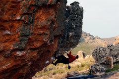 Rock Climbing Photo: Warren Schaefer takes a tea break while sending Up...