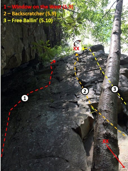 Routes and two-bolt anchor locations on the east-facing wall inside the Great Chimney.
