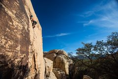 Transitioning onto the slabby traverse on Walking on a Dream