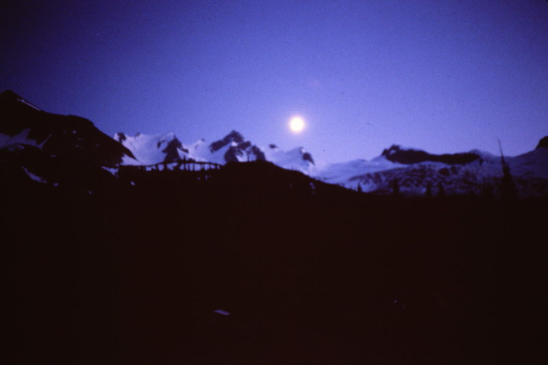 Full Moon over Mts: Adamant / Turret / Austerity / Ironman / and Horn - Northern Selkirk Mts (1982)