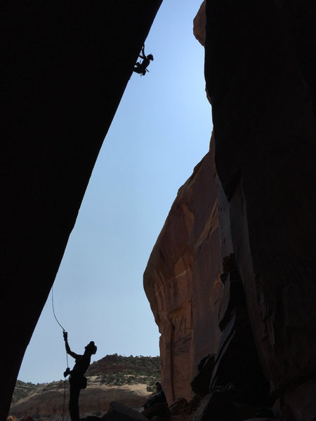 hey about another climber silhouette. that's tracy getting busy, ken on belay.