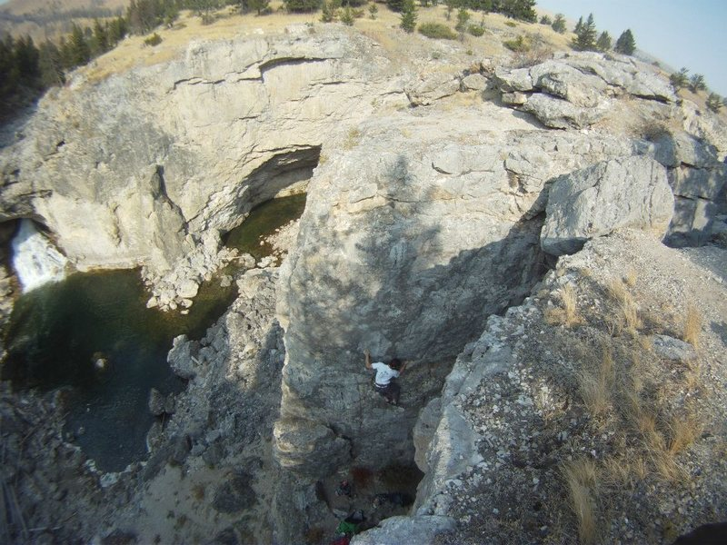 Rock Climbing Photo: Looking down on Chocolate Muffin Warmup from above...