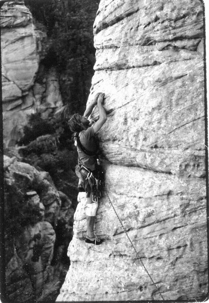 Steve Grossman on the first ascent of Lucky Goes to the Creamery (5.11X). Photo: Larry Coats