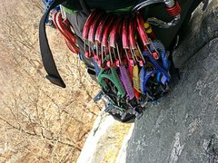 I usually lead anything under 5.6 in the Gunks on passive gear alone. This climb was all tricams and a few nuts leaving me with a rack of heavy cams at the tree belay.