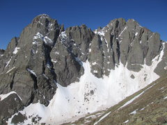 Rock Climbing Photo: Crestone Needle: Ellingwood Arete and N-E wall; Cr...
