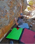 Rock Climbing Photo: Heath Lille headed for the slopers up top and he m...