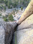 Rock Climbing Photo: Looking down from the top of the leaning column be...