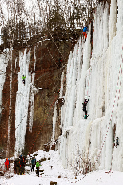 Solid ice climbing conditions in February 2016.