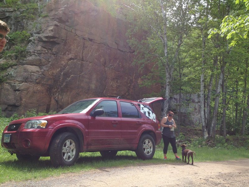 Compromises can be seen right behind our parked car.  You can pretty much belay right from the tailgate if you wanted to.