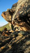 Rock Climbing Photo: Sticking the first move of Sim Sala Bim.