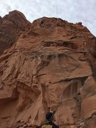 Rock Climbing Photo: my friend chris building an anchor on potstash