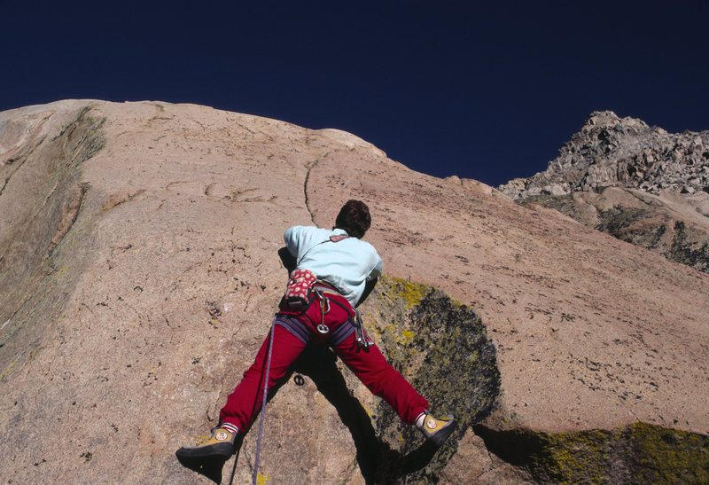 """Urmas Franosch leads the first ascent of """"Pearly Queen"""" (5.11c), Dinosaur Crag"""
