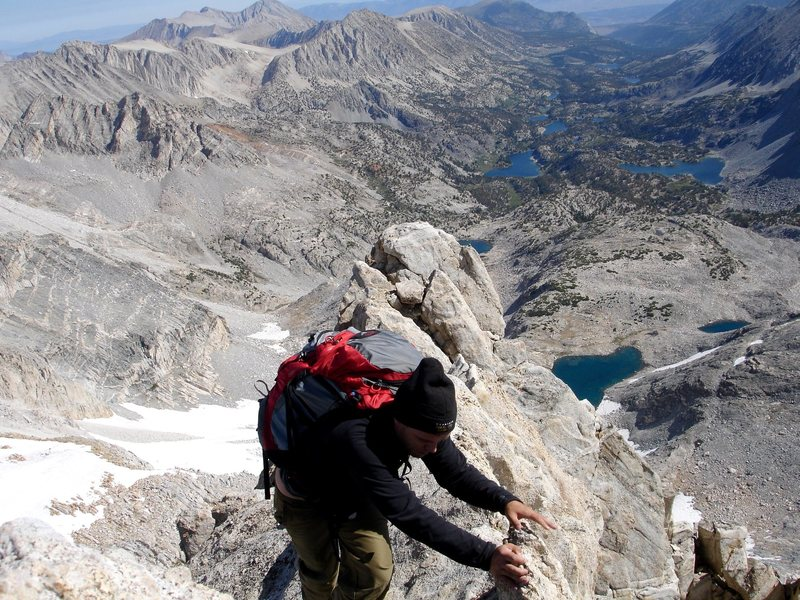 Rock Climbing Photo: Shad M on the final ridge to the summit of Bear Cr...