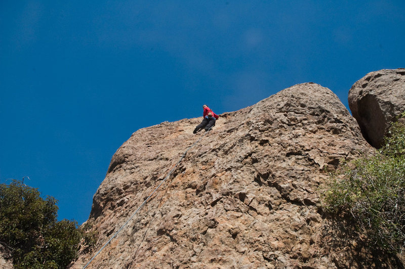 Rock Climbing Photo: kt topping out, enjoying the beautiful view