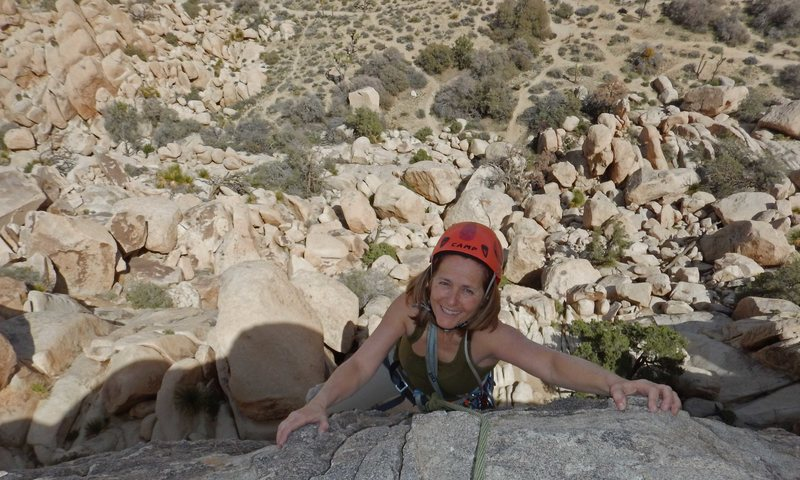 Brenda tops out on the Dairy Queen Wall at Joshua Tree, March 2016