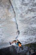 Rock Climbing Photo: In the upper crack. Photo by Matt Richter.
