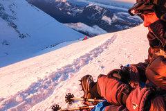 Taking breath near summit of Mount Elbrus