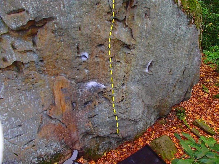 Topo outlined in yellow. Follow the underclung holds on thin feet up to the moss. Do not attempt to top out. I took this photo back in October when I first attempted it but just flashed it today.