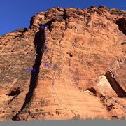 Rock Climbing Photo: Here are the first two pitches of Barbarian.  The ...