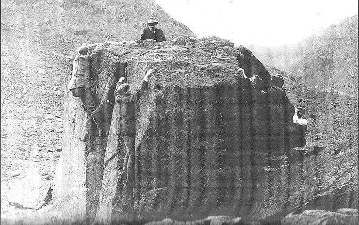 Photo 1890 right up to about 1965 or even later .. playing on boulders was something to do when it was raining or fun near a camp site .. no grades etc .These guys are in nailed boots as was the footwear in those days right into the 1950's (in UK) Odd climbs up to about 5.9 was done in these boots (not many!)