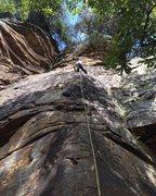 Rock Climbing Photo: Leading Fanfair 5.7 at Leda