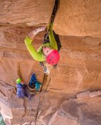 Rock Climbing Photo: The incredible tight-hands splitter roof on the be...
