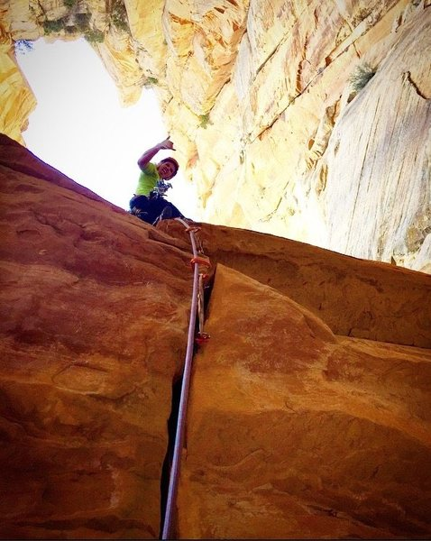 Rock Climbing Photo: After freeing the roof crux