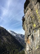 Rock Climbing Photo: Me leading Slim Pickins, 3/19/16.  Photo by Will S...