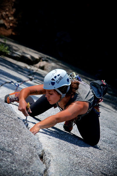 Lea Couture on Arrowroot, Squamish, BC, 5.10b