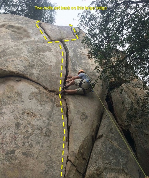 The Y-Crack, basic lieback to start and two variants at the top with the right variant being a bit more challenging because of the balancey moves. 2 Bolts at top easily reached by a short hike left of the Y-Crack area.
