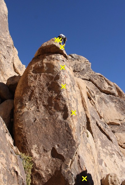 """Gandy is a nice short lead (my first in Josh). Decent protection relative to other """"sport"""" climbs in J-tree. It can be setup as TR with a 4th class scramble around the back. There is also a crack near 1st or 2nd bolt that you could add optional pro to if uncomfortable with the spacing of the bolts."""