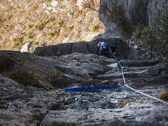 Rock Climbing Photo: P1-belay at ~180'.  Comfortable with solid passive...