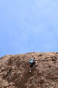 Rock Climbing Photo: Clearing the crux at itsy bitsy spider