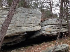 Rock Climbing Photo: Right boulder on the trail between the Brick Wall ...